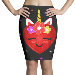 hot girl shirt cute unicorn heart valentines day girls kids t shirt Pencil Skirts | Artistshot