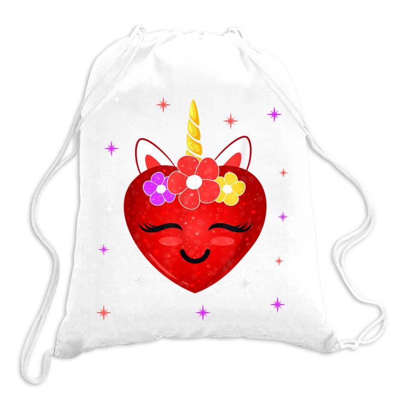 Hot Girl Shirt Cute Unicorn Heart Valentines Day Girls Kids T Shirt Drawstring Bags   Artistshot