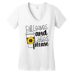 Fall Leaves And Lattes Please Women's V-Neck T-Shirt | Artistshot