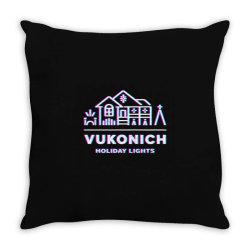 vukonich holiday lights house illustration  t shirt Throw Pillow | Artistshot