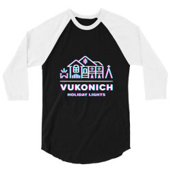vukonich holiday lights house illustration  t shirt 3/4 Sleeve Shirt | Artistshot