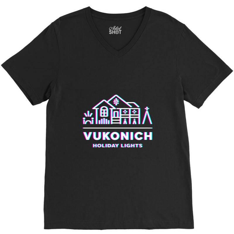Vukonich Holiday Lights House Illustration  T Shirt V-neck Tee | Artistshot