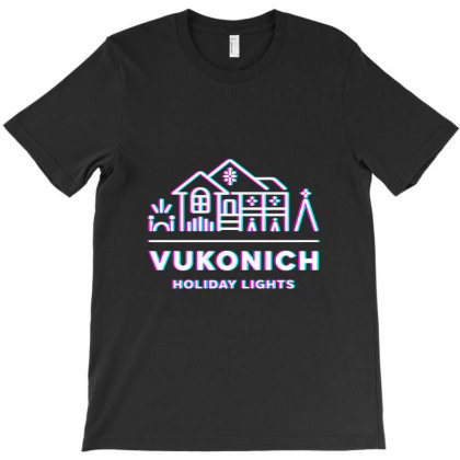 Vukonich Holiday Lights House Illustration  T Shirt T-shirt Designed By Moon99