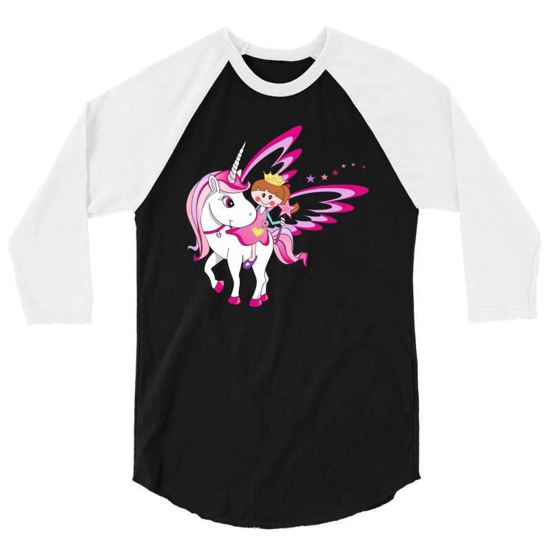 Unicorn Cute Cartoon Art 3/4 Sleeve Shirt   Artistshot