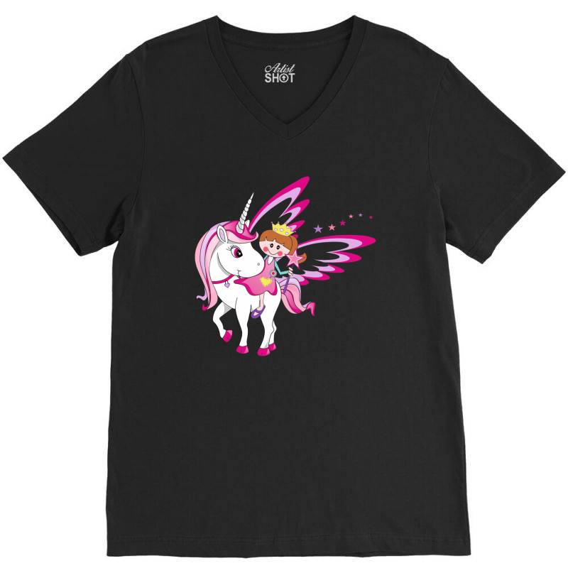 Unicorn Cute Cartoon Art V-neck Tee | Artistshot