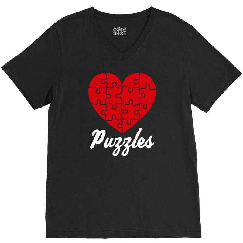 Puzzles Heart Puzzles Lover V-neck Tee | Artistshot