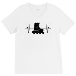 rollerblading ekg line V-Neck Tee | Artistshot