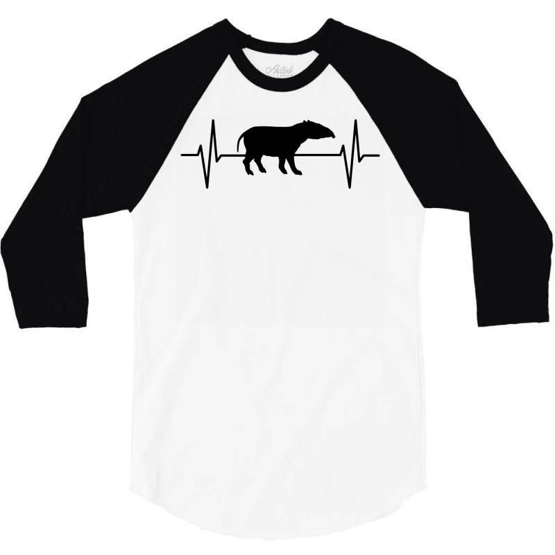 Tapir Lover Ekg Heartbeat Line 3/4 Sleeve Shirt   Artistshot