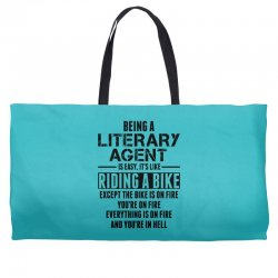 Being a Literary Agent is like Riding a Bike Weekender Totes | Artistshot