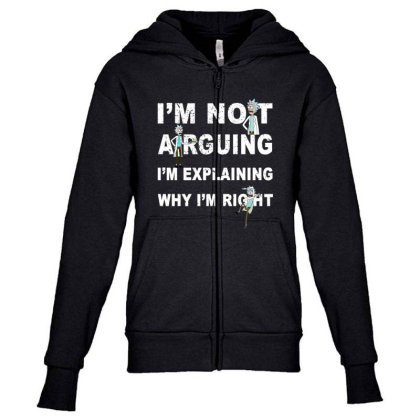 I'm Not Arguing - Rick And Morty Youth Zipper Hoodie Designed By Badaudesign