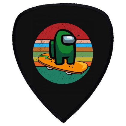 Among Us Character Green Retro Vintage Skateboard Shield S Patch Designed By Badaudesign