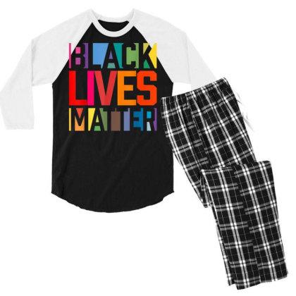Black Lives Matter Men's 3/4 Sleeve Pajama Set Designed By Koopshawneen