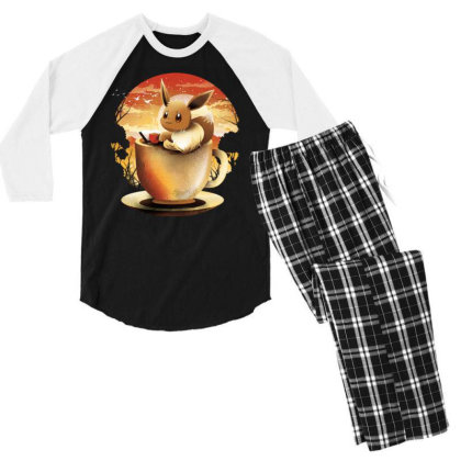 Coffee And Book Moonlight Men's 3/4 Sleeve Pajama Set Designed By Koopshawneen