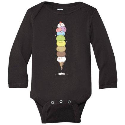 Ice Cream Cat In Cone Long Sleeve Baby Bodysuit Designed By Coşkun