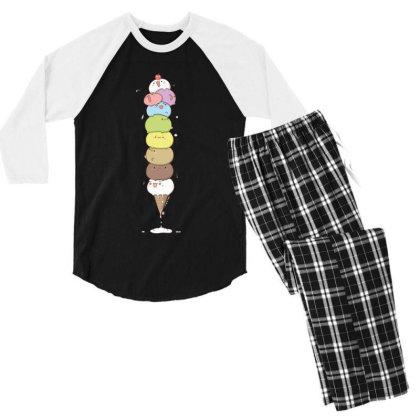 Ice Cream Cat In Cone Men's 3/4 Sleeve Pajama Set Designed By Coşkun