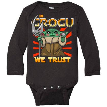 Grogu Trust The Kid Long Sleeve Baby Bodysuit Designed By Koopshawneen