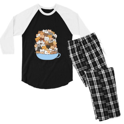 Cute Cats Men's 3/4 Sleeve Pajama Set Designed By Coşkun