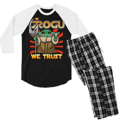 Grogu Trust The Kid Men's 3/4 Sleeve Pajama Set Designed By Koopshawneen
