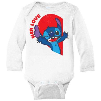 Her Stich Long Sleeve Baby Bodysuit Designed By Koopshawneen