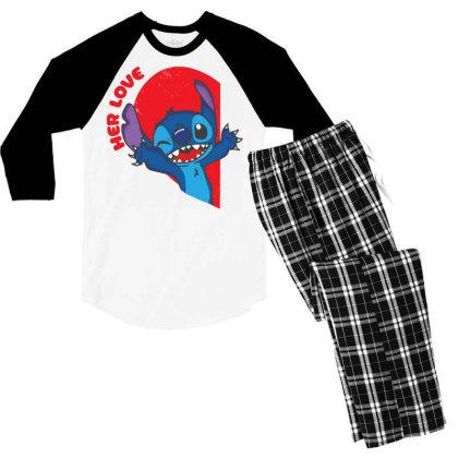Her Stich Men's 3/4 Sleeve Pajama Set Designed By Koopshawneen