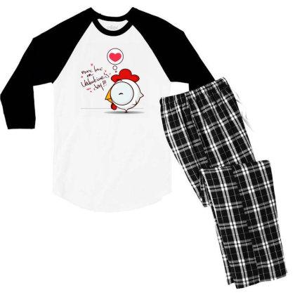 Valentine's Day Men's 3/4 Sleeve Pajama Set Designed By Coşkun