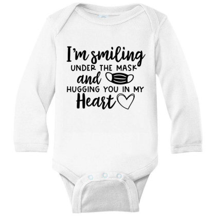I'm Smiling Under The Mask And Hugging You In My Heart 2 Long Sleeve Baby Bodysuit Designed By Koopshawneen