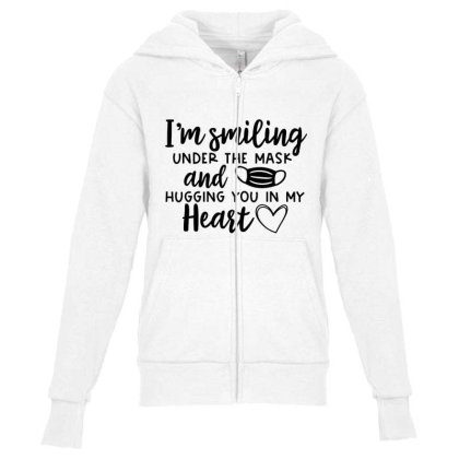 I'm Smiling Under The Mask And Hugging You In My Heart 2 Youth Zipper Hoodie Designed By Koopshawneen