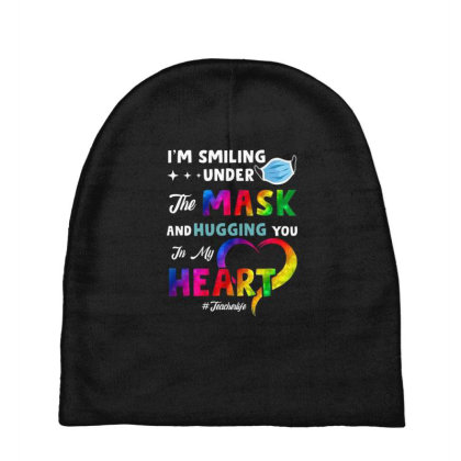 I'm Smiling Under The Mask And Hugging You In My Heart Baby Beanies Designed By Koopshawneen