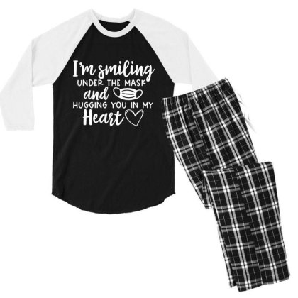 I'm Smiling Under The Mask And Hugging You In My Heart 1 Men's 3/4 Sleeve Pajama Set Designed By Koopshawneen