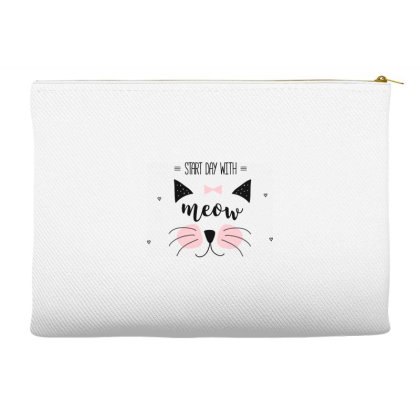 Start Day With Meow Sweet Cat Art Accessory Pouches Designed By Coşkun