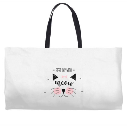 Start Day With Meow Sweet Cat Art Weekender Totes Designed By Coşkun