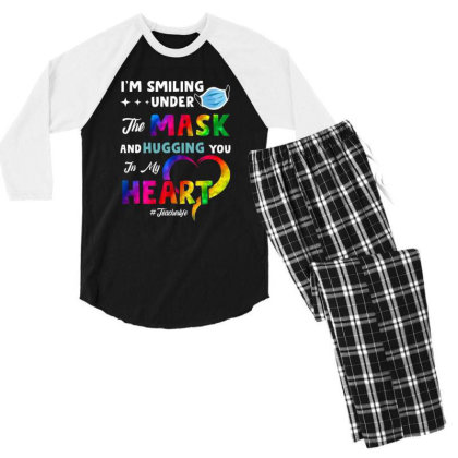 I'm Smiling Under The Mask And Hugging You In My Heart Men's 3/4 Sleeve Pajama Set Designed By Koopshawneen