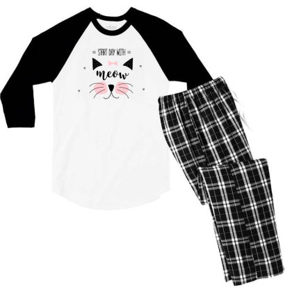 Start Day With Meow Sweet Cat Art Men's 3/4 Sleeve Pajama Set Designed By Coşkun