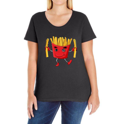 Fried Potatoes, Fast Food Ladies Curvy T-shirt Designed By Coşkun