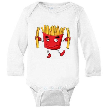 Fried Potatoes, Fast Food Long Sleeve Baby Bodysuit Designed By Coşkun