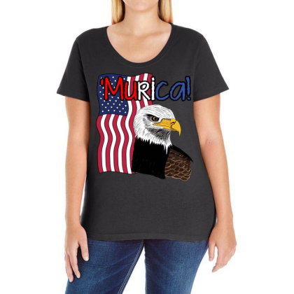 July 4th Independence Patriot Memorial Ladies Curvy T-shirt Designed By Koopshawneen