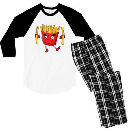 Fried Potatoes, Fast Food Men's 3/4 Sleeve Pajama Set Designed By Coşkun