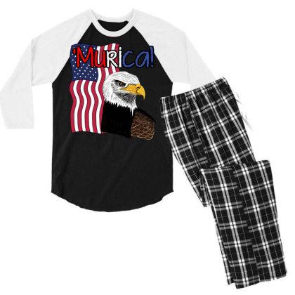 July 4th Independence Patriot Memorial Men's 3/4 Sleeve Pajama Set Designed By Koopshawneen