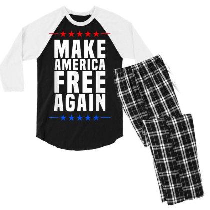 Make America Free Again Men's 3/4 Sleeve Pajama Set Designed By Koopshawneen
