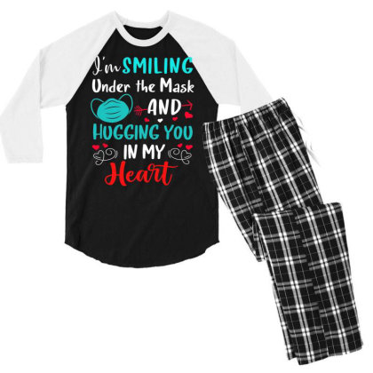 I'm Smiling Under The Mask And Hugging You In My Heart 2 Men's 3/4 Sleeve Pajama Set Designed By Koopshawneen