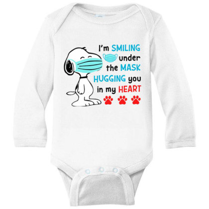 I'm Smiling Under The Mask And Hugging You In My Heart Long Sleeve Baby Bodysuit Designed By Koopshawneen