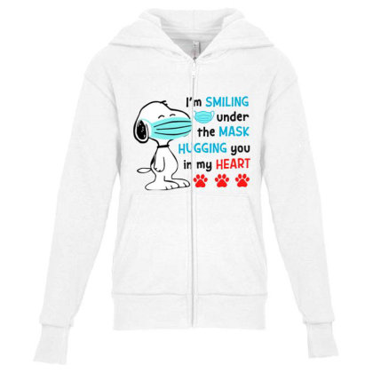 I'm Smiling Under The Mask And Hugging You In My Heart Youth Zipper Hoodie Designed By Koopshawneen