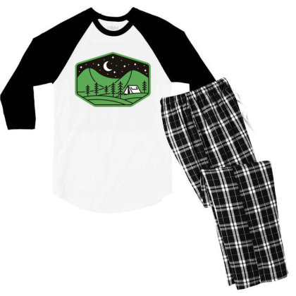 Green Camp Men's 3/4 Sleeve Pajama Set Designed By Gudalbosok