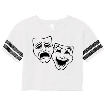 Comedy And Tragedy Theater Masks Black Line Scorecard Crop Tee Designed By Fizzgig