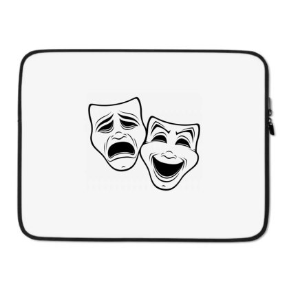 Comedy And Tragedy Theater Masks Black Line Laptop Sleeve Designed By Fizzgig