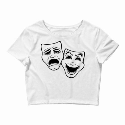Comedy And Tragedy Theater Masks Black Line Crop Top Designed By Fizzgig