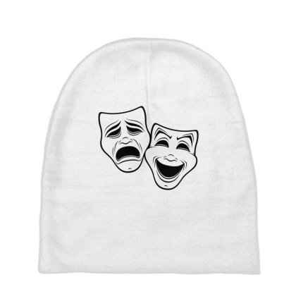 Comedy And Tragedy Theater Masks Black Line Baby Beanies Designed By Fizzgig