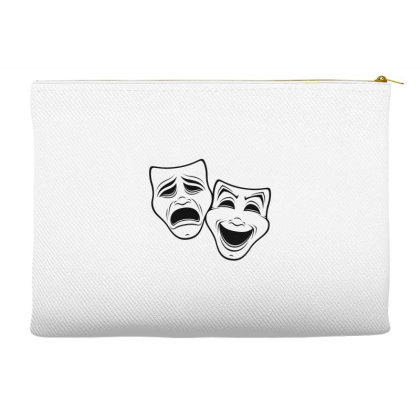 Comedy And Tragedy Theater Masks Black Line Accessory Pouches Designed By Fizzgig