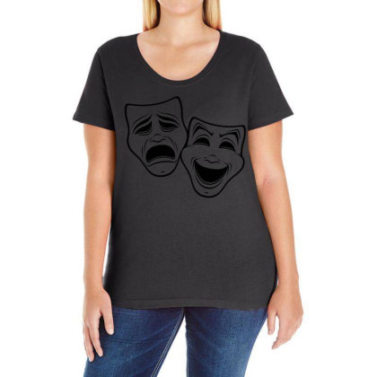 Comedy And Tragedy Theater Masks Black Line Ladies Curvy T-shirt Designed By Fizzgig