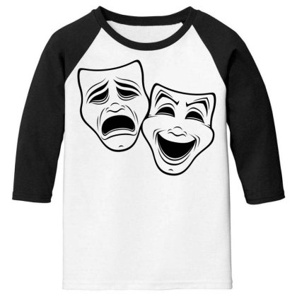 Comedy And Tragedy Theater Masks Black Line Youth 3/4 Sleeve Designed By Fizzgig